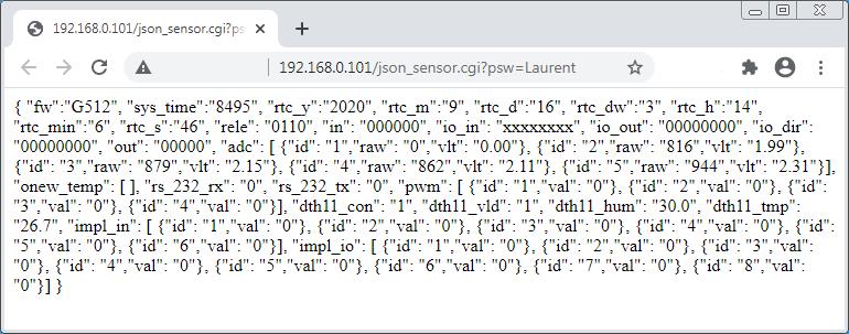 Laurent-5: Сбор данных и показаний датчиков через JSON